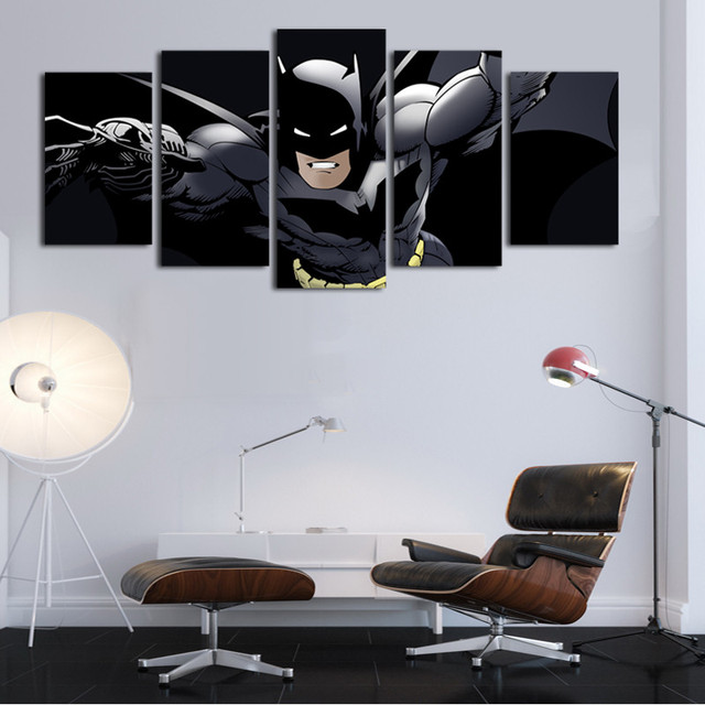 Sơn In Hình Ảnh Trang Trí Canvas 5 Cái Movie Batman Poster Tường HD Nghệ Thuật Khuôn Khổ Modular Đối Living Kids Room