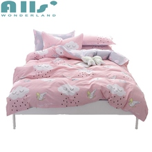 Cute Cartoon Patterns High Quality Duvet Cover Set Girls Flat Sheet Bedding Set Queen and King Size Pink Pillow Covers