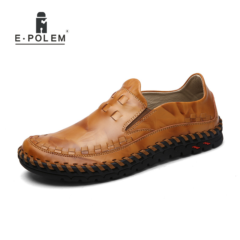 New Trendy Men's Casual Shoes Men Leather Breathable Casual Shoes Non-Slip British Fashion Men's Shoes 2017 Autumn And Winter branded men s penny loafes casual men s full grain leather emboss crocodile boat shoes slip on breathable moccasin driving shoes