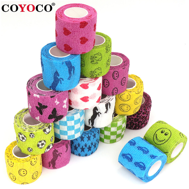 4.5m Self Adhesive Wrap Tape Medical Therapy Elastic Bandage Knee Protector 1 pcs Sports Colorful Printed Finger Joints Pet Tape