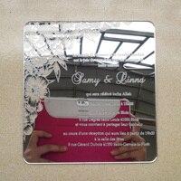 Orden de la muestra para 7*7 pulgadas elementos flor forma cuadrada espejo de plata tarjeta de invitación de la boda de acrílico