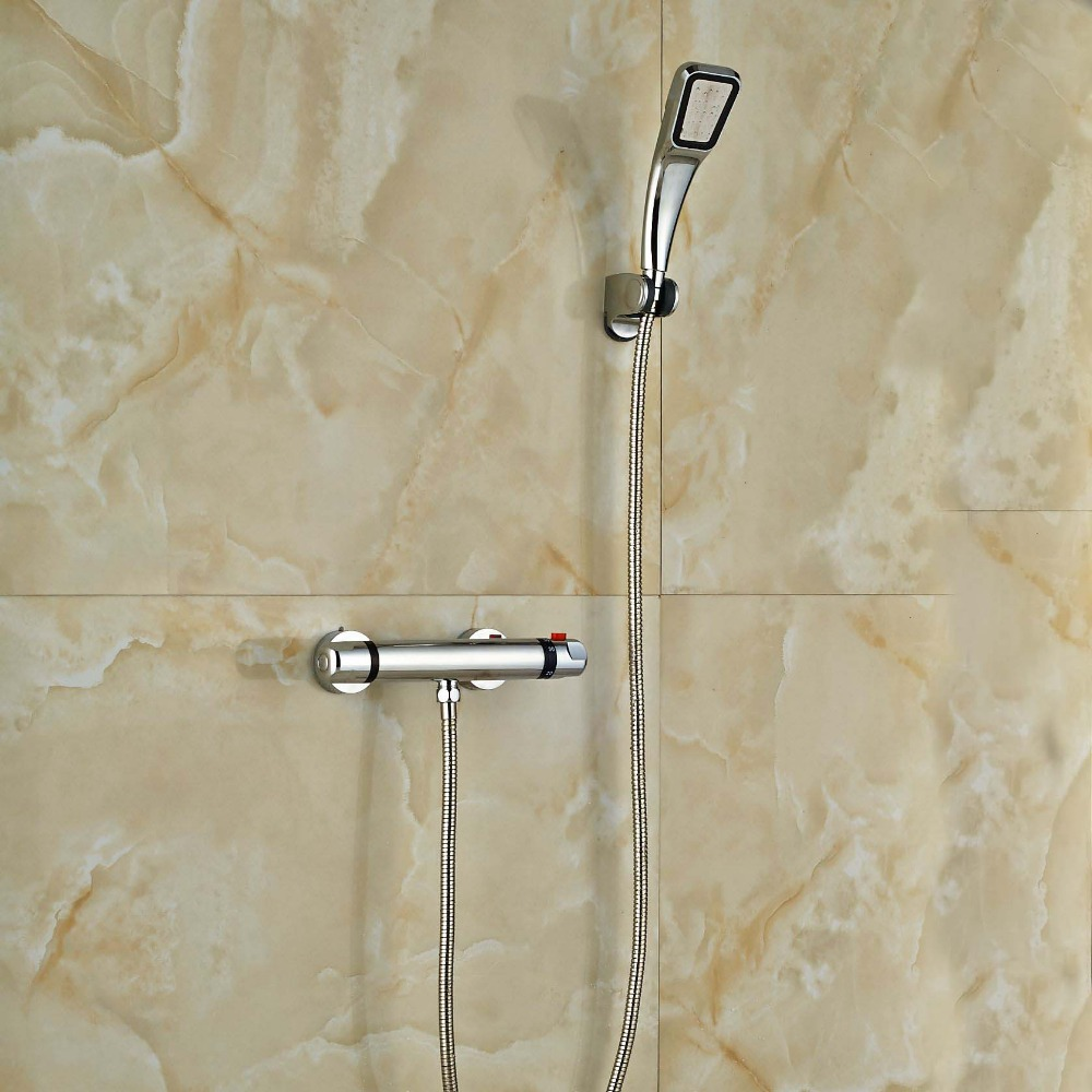 Chrome Finish Thermostatic Valve Mixer Tap Wall Mounted wall mounted two handle auto thermostatic control shower mixer thermostatic faucet shower taps chrome finish