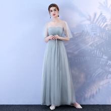 Grey Colour Bridesmaid Dress Female Long Mesh Sisters Banquet Bandage Women for Wedding Party Junior Bridesmaid Dress tulle sexy