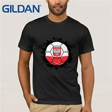 611f12a229 Últimas Homens Gildan T Shirt Da Forma de Pré-Camiseta Para Homens Soccers  Bola da Polónia