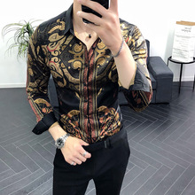 Spring New Print Shirt men refreshing fabrics summer Male Fashion silm fit casual shirts Men  Turndown Collar Shirt turndown collar checked linen shirt
