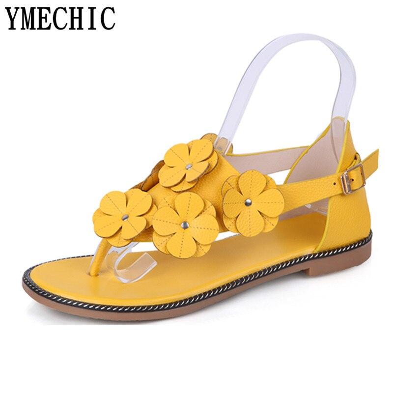 Ymechic Süße Mädchen Ladys Blume Gladiator Sandalen Sommer Frau Schuhe Gelb Braun Weiß Schöne Beiläufige Flache Sandale Weiblichen Wohnungen Fein Verarbeitet Schuhe Frauen Schuhe