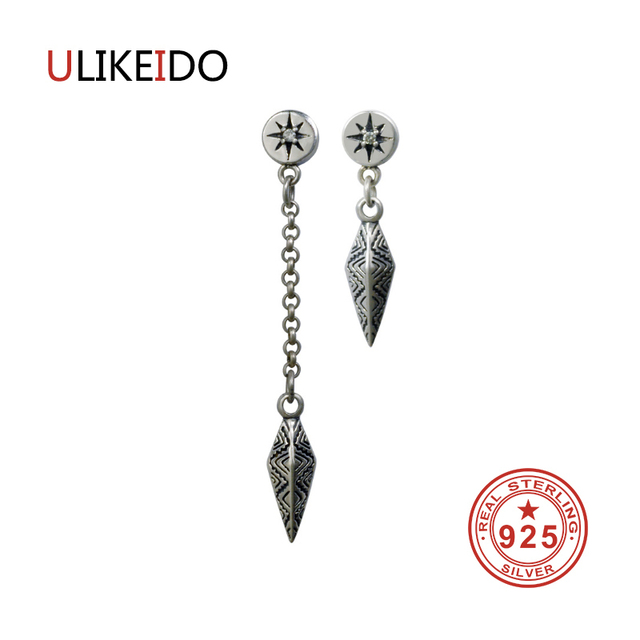 100 Pure 925 Sterling Silver Spear Earrings Fashion Punk Jewelry Stud Earring For Men And