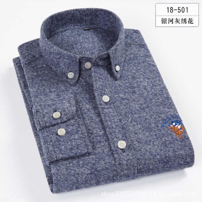 2018 бренд 100% полотняного плетения из чистого хлопка рубашка Для мужчин весна Повседневное рубашки шлифования платье мужские рубашки Camisa Masculina Высокое качество