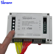 Sonoff 4ch Channel Remote Control WiFI Switch Home Automation Module on/off Wireless Timer Diy Switch Din Rail Mounting