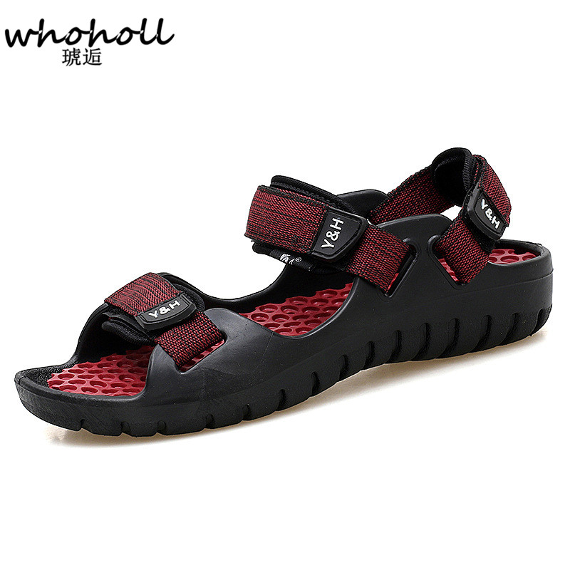 WHOHOLL 2018 Summer Leisure Beach Men Shoes High Quality Leather Sandals Quality Walking Sandal Men