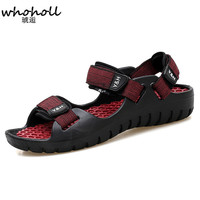 WHOHOLL 2018 Summer Leisure Beach Men Shoes High Quality Leather Sandals Quality Walking Sandal Men's Sandals Size 40 44