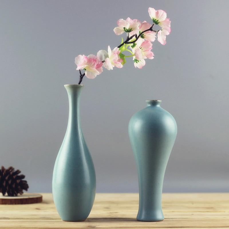 Creative Home Decor Chinese Jingdezhen Ruyao Handmade Ceramics Retro Bule Flower Vase Livingroom