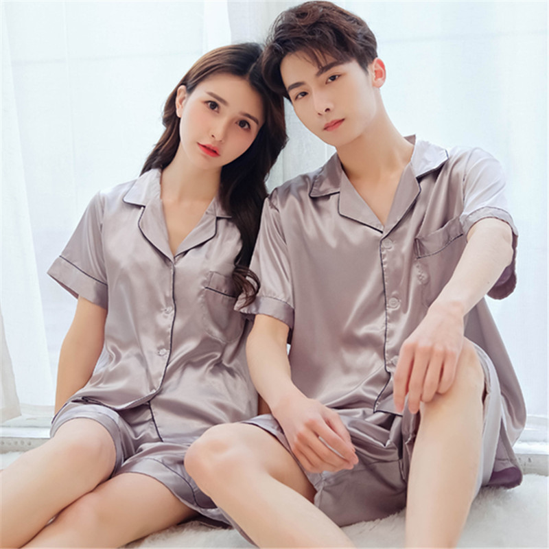 Korean version of the couple pajamas women 39 s summer thin silk pajamas men 39 s short sleeved suit ice silk sexy home service in Pajama Sets from Underwear amp Sleepwears