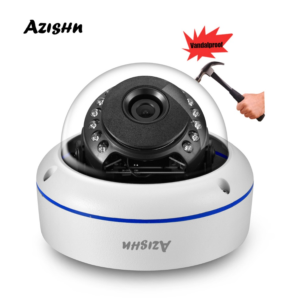 "Image 1 - AZISHN Vandalproof H.265 HD 5MP 1/2.8""SONY IMX335 IP Camera 2592*1944 ONVIF PTP 15IR Dome metal waterproof Security CCTV Camera-in Surveillance Cameras from Security & Protection"