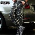 Lucía de los hombres Pantalones 2016 Marca Sweat Pant sweatpant Pantalones militares de Camuflaje masculino cargo camo desgaste elástico de la cintura del ejército Basculador