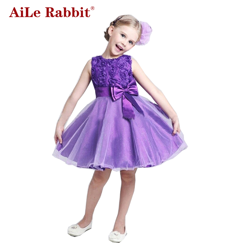 AiLe Rabbit Princess Flower Girl Dress Summer 2017 Tutu Wedding Birthday Party Dresses For Girls Children's Costume Teenager aile rabbit fashion girl dress set girls summer dresses 2017 brand kids coat dress princess costume vestido infantil children
