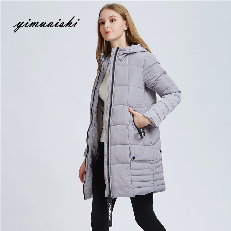 2018 women winter hooded warm coat Female Outwear Slim Hooded Girls Padded solid color womens long parka wadded jaqueta feminina