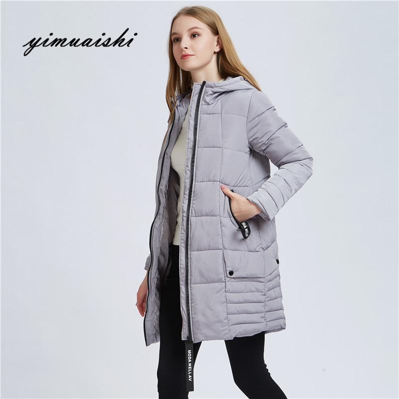 2018 women winter hooded warm coat Female Outwear Slim Hooded Girls Padded solid color womens long parka wadded jaqueta feminina