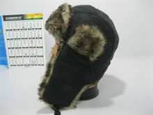 Free Shipping 2013 fashion trapper hat with faux fur earflap for cold winter hat for woman and man solid color bomer hat