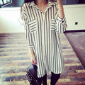 2016 plus size women clothing 6xl 5xl summer shirt dress fashion loose blouses vertical stripe chiffon blouse shirts women tops