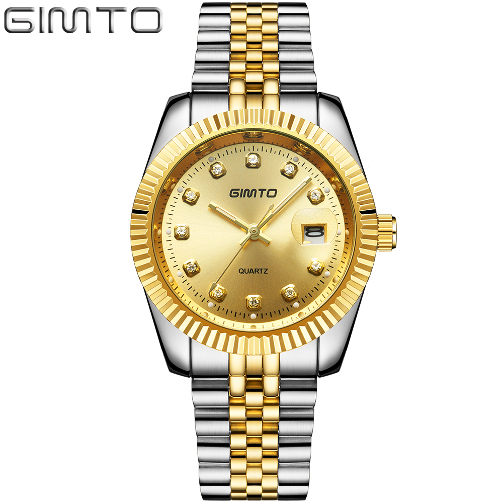 Brand Men's Business Quartz Watch Gold steel band Fashion Luxury diamond Man's Automatic Date Watches relogio masculino