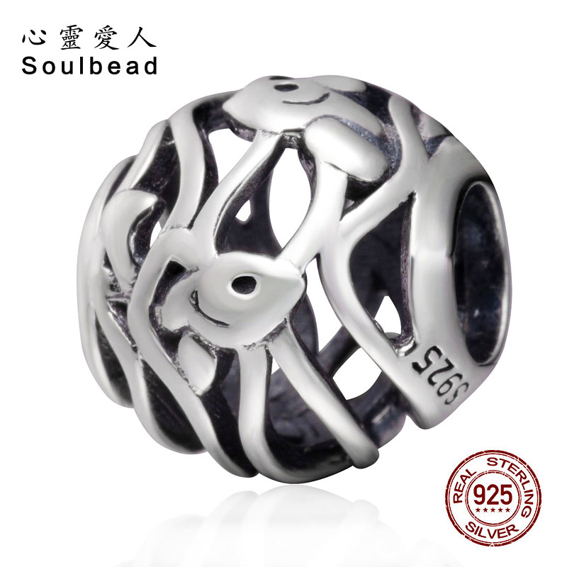 Soulbead Ocean Fish Charm 925 Sterling Silver Fit Pandora Bracelet For 2018 Summer Series Birthday Gift SS3692