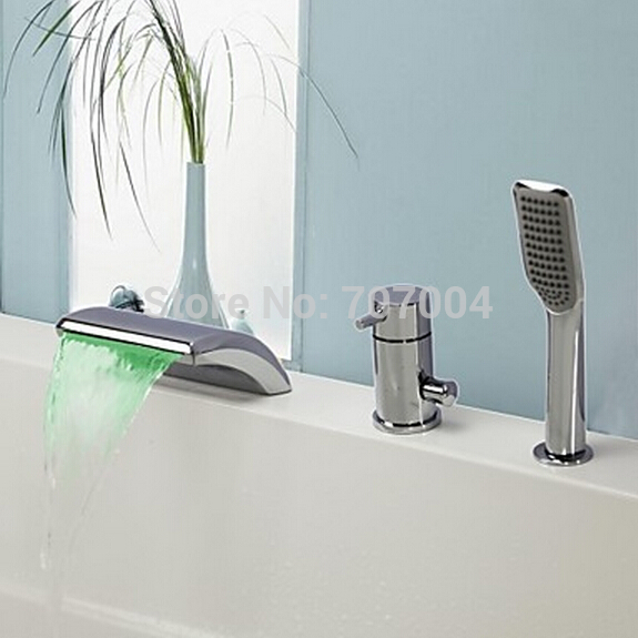 Polished Chrome Deck Mounted Single Handle Bathtub Waterfall Spout Faucet Three Hole 3pcs LED Bath Tub Faucet with Hand Shower wholesale and retail deck mounted square waterfall bathtub faucet single handle chrome finish bath spray w hand shower