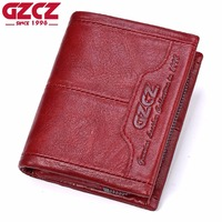GZCZ Genuine Leather Women Wallet Female Zipper Small Walet Clamp For Money Coin Purse Card Holder