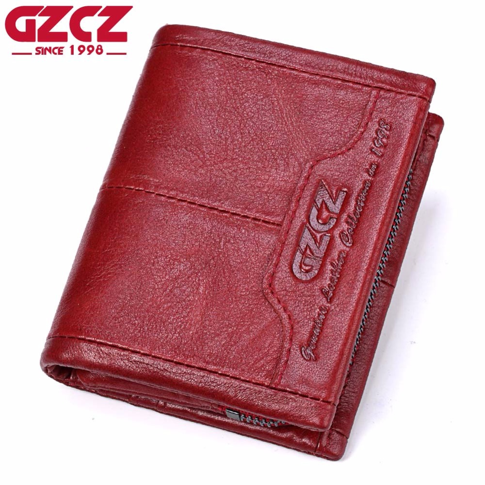 GZCZ Genuine Leather Women Wallet Female Zipper Small Walet Clamp For Money Coin Purse Card Holder Portomonee Mini Rfid Vallet