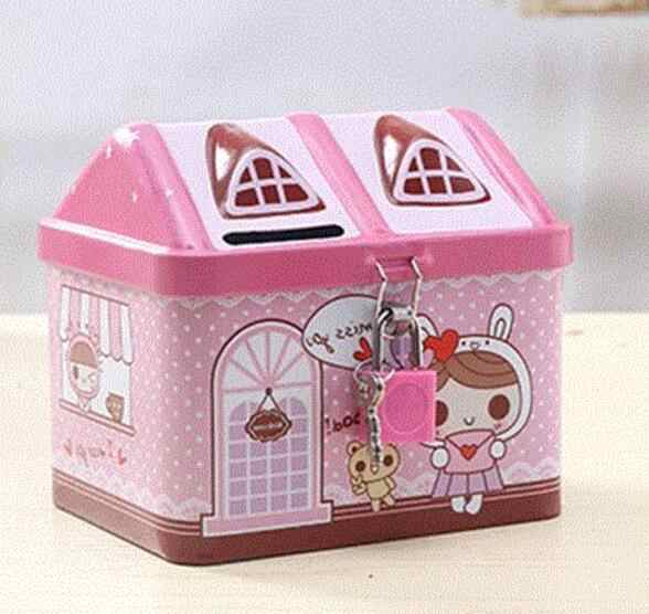 1PC New Small Tin House Cute Piggy Bank Money Box Money-boxes Tinplate Saving Bank Best Gift for Children Kids OK 0462