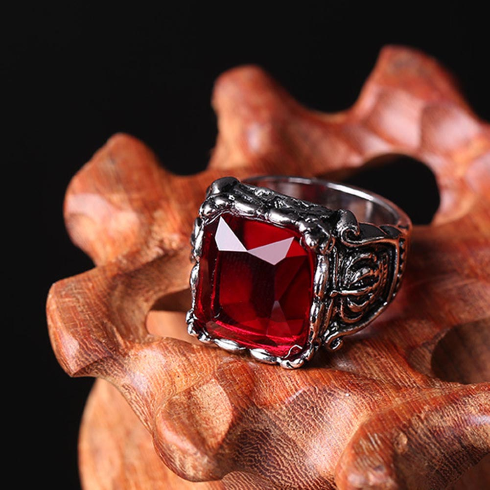 Gothic Crown Rings Vintage Style Fashion Jewelry For Men Woman Jewelry  bijoux Men's Ring With Stone Square ring Gem Red CZ