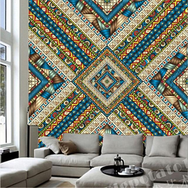 Custom 3D Large MuralBeautiful India Pattern Murals Papel De Parede Living Room Sofa