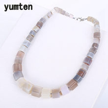 Yumten Grey Agate Necklace Women Men Vintage Power Stone Charms Choker Gemstone Arabic Reiki Healing Balance Arabic Jewelry Bag(China)