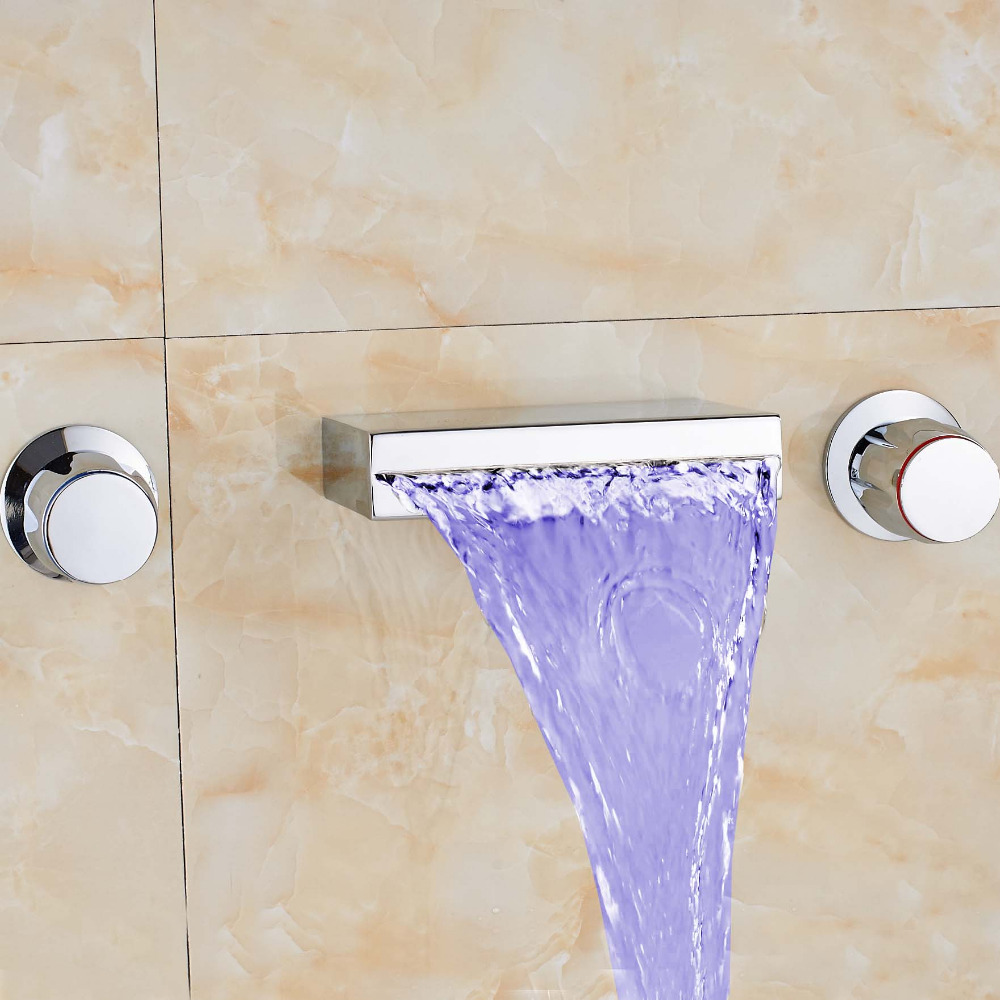 Modern Bathroom Widespread Waterfall Rain LED Color Changing Tub Faucet Square Spout Dual Handles Mixer Tap Faucet free shipping golden finish led color changing bathroom tub faucet widespread spout mixer tap