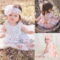 Flower Briefs Bottoms Bow Cute 2pcs Outfit Baby Girl Clothes Sets Sunsuit 2pcs 2016 New Newborn Baby Girls Lace Swing Tops Dress