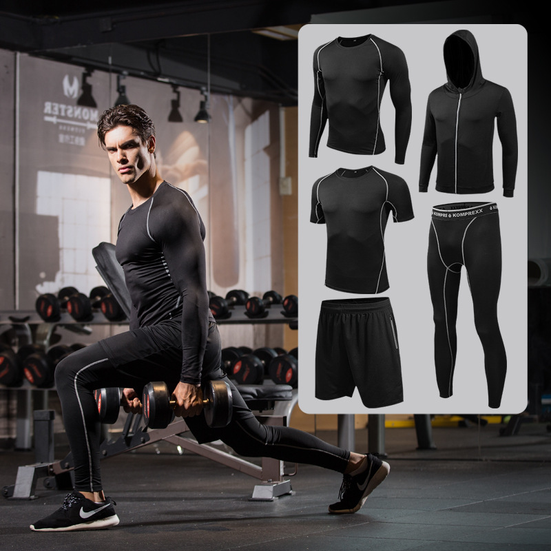 Quick Dry 5PCS Running Set Men Compression Basketball Running Sports Suits Gym Fitness Sportswear Running Jogging Tights Clothes 2018 sports suits men quick dry running jogging sets male workout fitness tights basketball training gym suits sportswear 5pcs