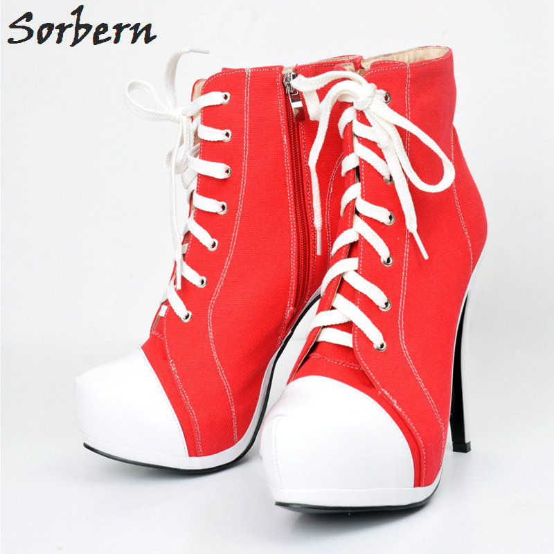 Sorbern Women Fashion Boots High Heels Lace Up Zipper Side Botas Mujer Zapatos Mujer Ankle Boots
