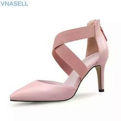 2019 г. Новая Корейская версия обуви на высоком каблуке с острым носком, на молнии, с резиновой лентой, в римском стиле