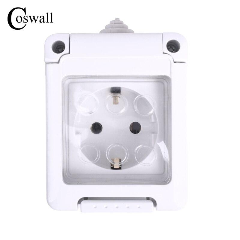 Coswall IP44 Wasserdicht Staub-proof Outdoor Externe Wand Steckdose 16A EU Standard Steckdose Geerdet AC 110 ~ 250 v