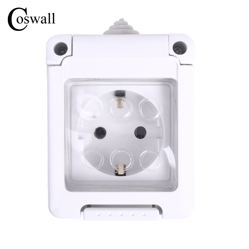 Coswall IP44 Waterproof Dust-proof Outdoor External Wall Power Socket 16A EU Standard Electrical Outlet Grounded AC 110~250V ac 200v 250v 16a ip44 2p e 3 terminal female industrial caravan panel socket