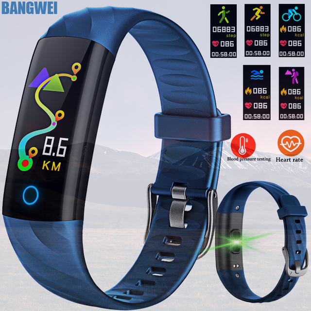 2018 BANGWEI Smart Watch With Heart Rate Blood Pressure Oxygen Oximeter Sport Watch Ring Waterproof Watch Smart For iOS Android