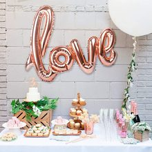 Ligature LOVE Letter Foil Balloon Anniversary Wedding Valentines Birthday Party Decoration Champagne Cup Photo Booth Props(China)