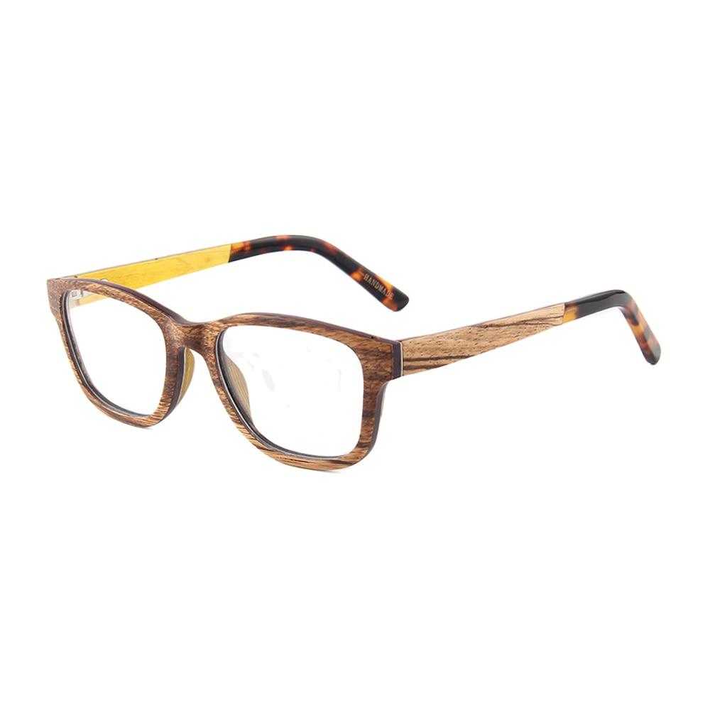 natural wood frame Tortoise acetate tips cheap eyeglasses wooden ...