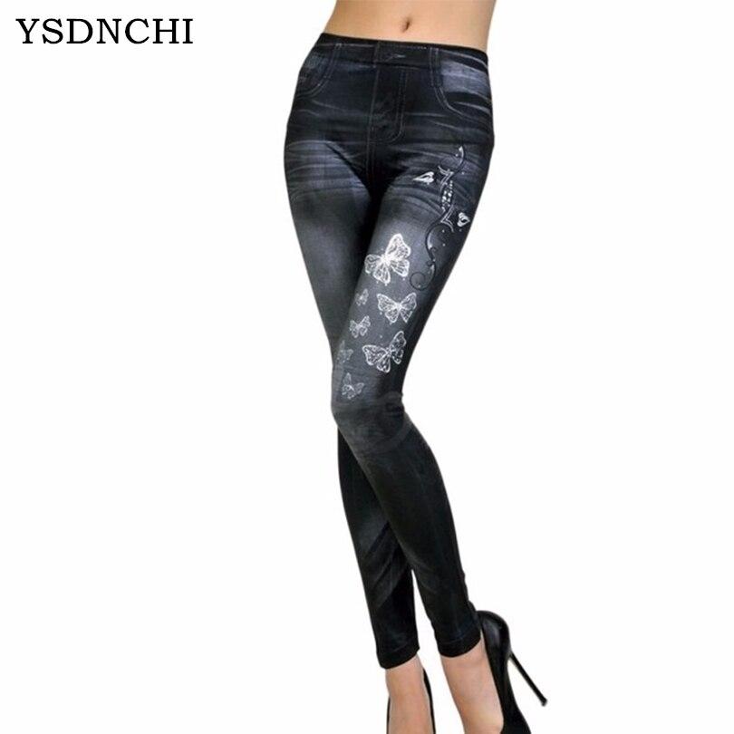 Women Fashion Stretchy Leggings Faux Denim Jeans Leggings Sexy Butterfly Printing Casual Women Clothing Pencil Pants Plus Size