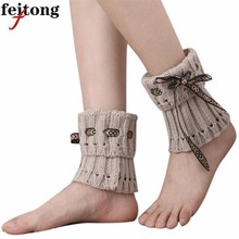 Feitong Womens Gaiters Winter Leg Warmers Boot Cuffs For Women Paragraph Boot Socks Thigh Bands Beenwarmers Boot Covers(China)