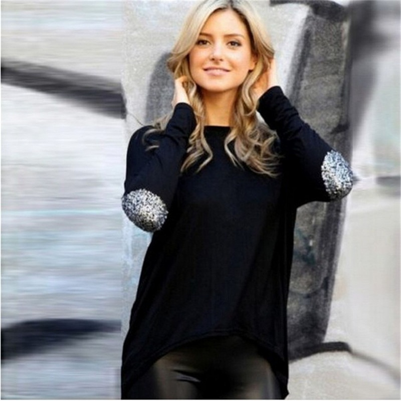 Spring New trend women casual long Tshirt loose Oneck long sleeve Black White Wine Patchwork Gold Powder Sequins Noble lady tops