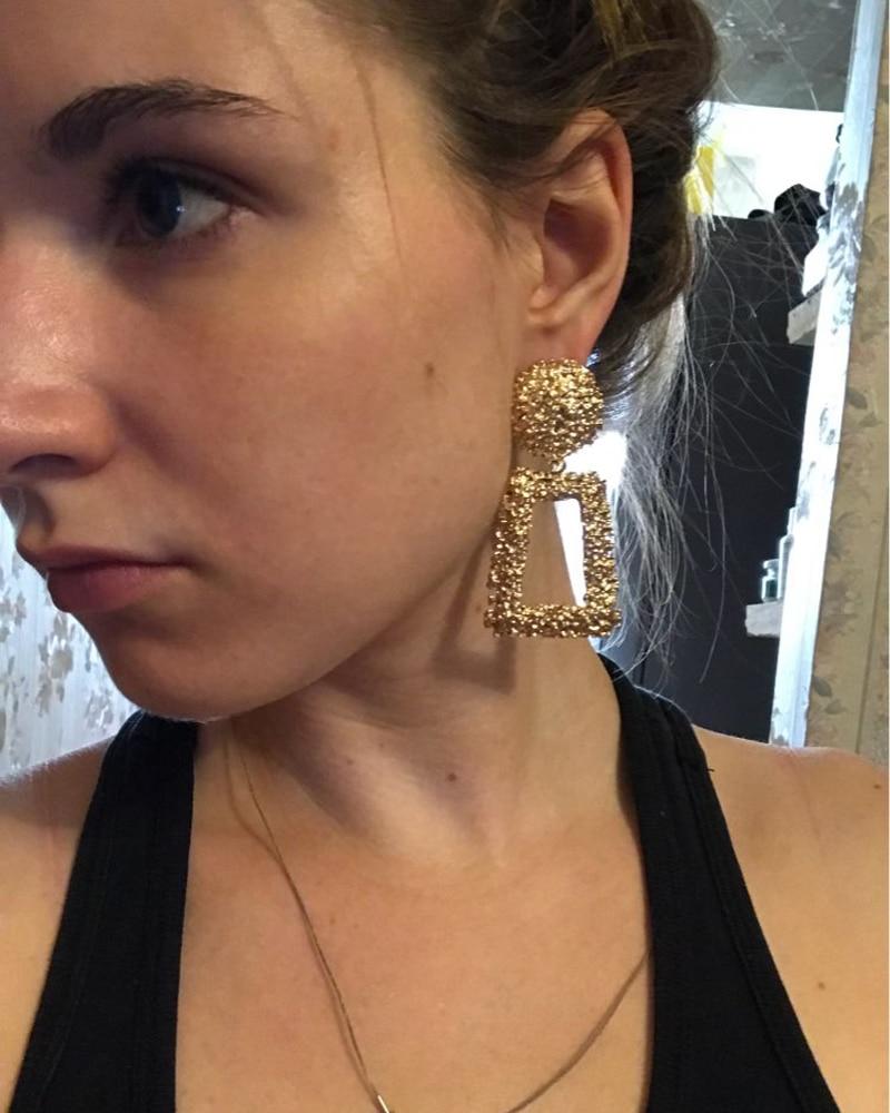 KMVEXO Big Vintage Earrings for Women Gold Silver Black Geometric Statement Earring 2018 Metal Earing Hanging Fashion Jewelry