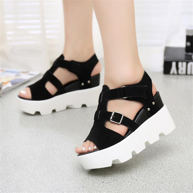 Summer Buckle Womens Sandals Velvet Flock Fish Mouth Fashion high Heel Platform Open Toes Women Sandals Female Wedges ShoesSummer Buckle Womens Sandals Velvet Flock Fish Mouth Fashion high Heel Platform Open Toes Women Sandals Female Wedges Shoes