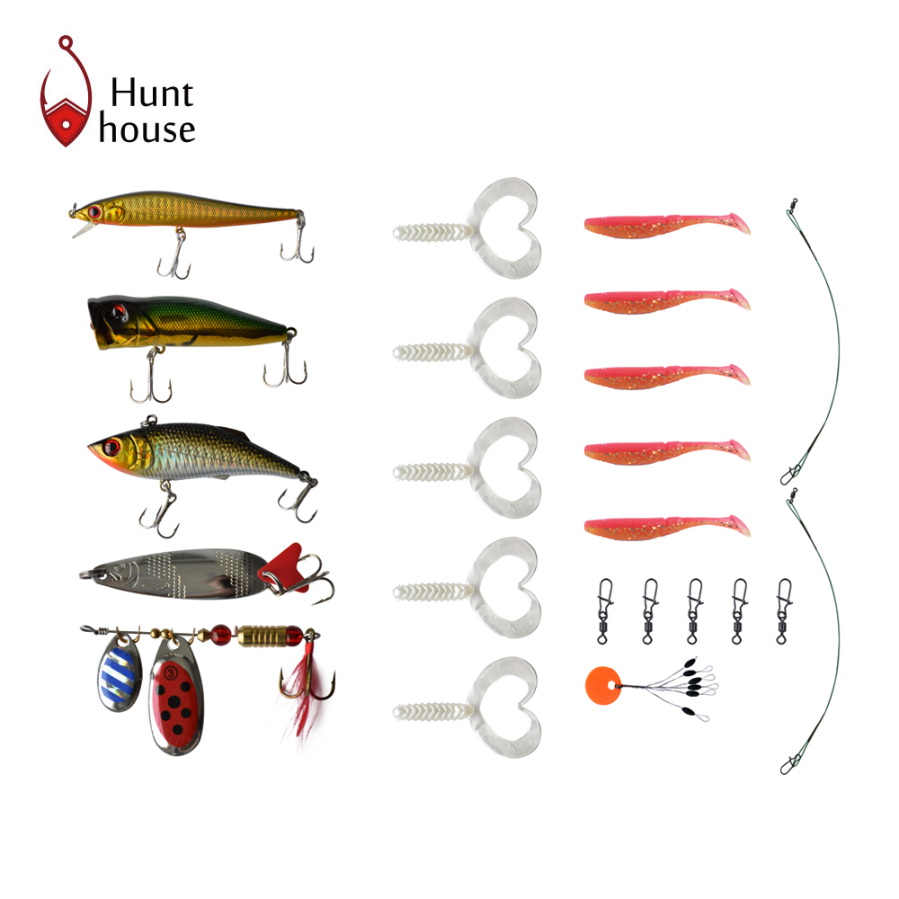 2017 model HH6001 new style Fishing Tackle Kit 26 pcs/lot Accessories and soft and hard Lure set hunt house brand 30pcs set fishing lure kit hard spoon metal frog minnow jig head fishing artificial baits tackle accessories
