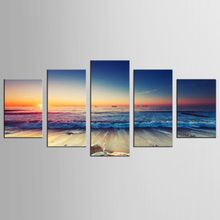 5 Piece High Quality Modern Printed On Canvas Blue Sky Seaview Wall Painting Beautiful Under Sunset Home Decor(China)